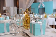 Tiffany Inspired Table for a Tiffany Theme Party :)