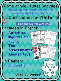 This Social Studies complete unit for the 2018 revised Ontario Curriculum, Heritage and Identity strand, is in FRENCH. All student pages and answer keys are in French. Lesson plans are in English. The lesson plans include the curriculum expectations being addressed in that lesson. Readings, follow up activities, reflection, task cards, test, inquiry unit, rubric, lesson plans, relevant pictures, and answer keys included. Perfect for French Immersion! #frenchimmersion #ontariocurriculum Learning Tools, Learning Resources, Teacher Resources, Ontario Curriculum, Social Studies Resources, French Immersion, Unit Plan, English, Elementary Teacher