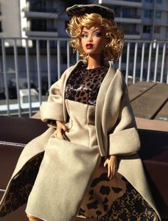 Integrity Toy's Adele modeling a Silk/Wool Taupe and Leopard print fashion. Fashion is for sale on Etsy: https://www.etsy.com/ca/listing/213413742/ooak-silkwoolleopard-print-coat-sheath?ref=shop_home_active_21