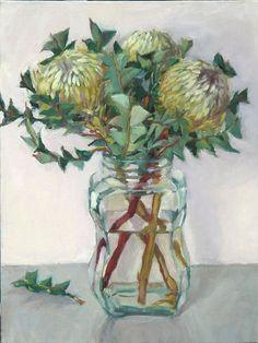Love the jar reflection Protea Art, Art Floral, Australian Wildflowers, Amarillis, Artist Sketchbook, Still Life Art, Abstract Flowers, Still Life Flowers, Pictures To Paint