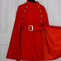 Vintage Red Wool Cape.  love this design!