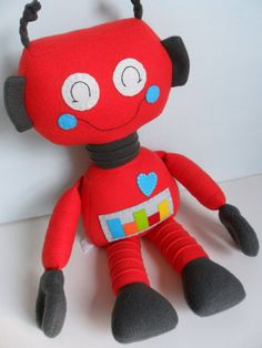 Kids  Baby & Toddler  Stuffed Toy  Rag Doll  Robot by 2dancingdogs, $57.00