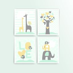 Mint Pale Yellow Boy nursery wall art printable nursery art