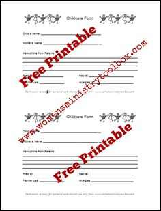 Free Printable Childcare Form From Women S Ministry Toolbox