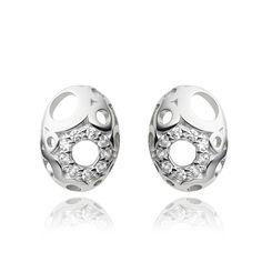 Lencia O earring, silver 925/000 rhodium plated CZ fi 1,75 mm - 18x