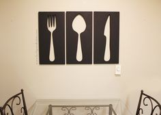 Full tutorial on how to make your own giant utensil wall art for your kitchen or dining room complete with your own fork, knife, and spoon.