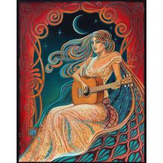 Gypsy Moon Psychedelic Goddess Of Music 8x10 Print ($15) ❤ liked on Polyvore