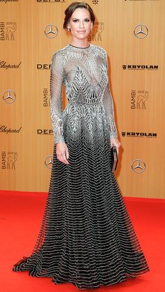 Hilary Swank in a sparkly Naeem Khan dress