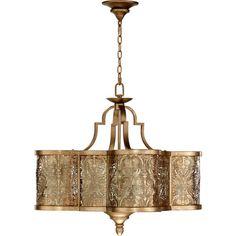 French Damask Vintage Pewter Six Light Pendant Drum Pendant Lighting Ceiling Lighting