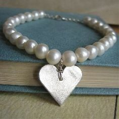 Betina Silver Heart & Pearl Bracelet -