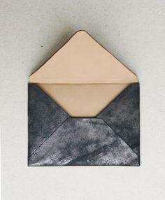 a soft-touch, graphite envelope. adore. // via A N V E #thoughtfulashell #socialpreparednesskit #eggpress