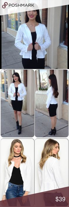 White Peplum Jacket Love this versatile piece I found. Stock photo has it with jeans which works too. Gold Zipper and fully lined. Material is embossed. 96% Polyester, 4% Spandex. Hand wash cold. (This closet does not trade or use PayPal) X Taren Jackets & Coats Blazers
