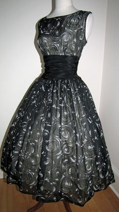 Atomic Flocked Chiffon Evening Party Dress with Dramatic Bow – c. 1960's