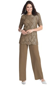 How about this mom?????? (Pant suit for wedding: Grandmother) | Two piece Lace Chiffon