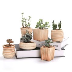 Great Gift - this Ceramic Wooden Pattern Succulent Plant Pots can serve a variety of purposes. Perfect gift for family and friends who love succulent plants with a green thumb or keep it in your own home for a touch of clean, modern style in your living space.