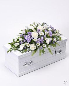 Children's Casket Spray - Blue and Lilac - Funeral Flowers London
