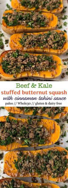 These Kale & Beef Stuffed Butternut Squash with Cinnamon Tahini Sauce make an delicious, healthy, and comforting fall meal. This stuffed squash might look fancy, but it's super easy to make and only a handful of ingredients. It's sweet, savory, and satisfying and paleo, gluten free, and Whole30 approved! - Eat the Gains #whole30 #paleo #glutenfree #mealprep #stuffedsquash #dairyfree