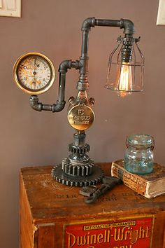 Steampunk Brass Steam Gauge Meter Gear Lamp Light Industrial Art Machine Age... reminds me of my brothers Jack's Hardware days