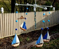 Beach Cottage Shabby Chic Blues Sailboats & by SweetheartTree, $40.00