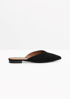 & Other Stories image 1 of Suede Pointy Slippers in Black
