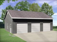 Three car garage takes advantage of vaulted ceilings to allow for an auto lift. Generous size allows for lots of storage.