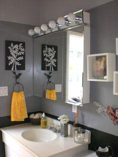 bathrooms - bathroom, grey, gray, yellow, black,  My graduated grey bathroom.  From Nichole @ Parlour Home