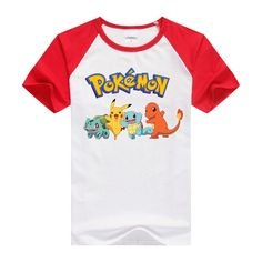 T-shirt pokemon shirt cute boys clothing Short Sleeve cartoon pattern cotton boys clothes Pikachu Charmander children t shirts