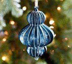 Blue Finial Glass Ornament   Pottery Barn.  Bought this for myself last Christmas!