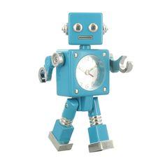 robot alarm clock teal