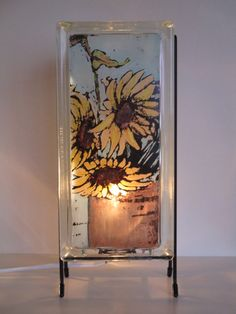 Sunflower Glass Block lamp  upcycled handmade  FREE SHIPPING  gift from Kansas floral lamp sunflower art eco-friendly lamp foyer lamp