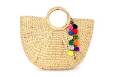 Etsy $46 Woven Water Hyacinth Beach Bag Feature With Pom by ThaiHandbags