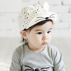 2016 New Baby Boy and Girl Cartoon Peaked Adjustable Cap with Cat Ears Cotton Dot Infant Cute Hat Sun Hats Spring