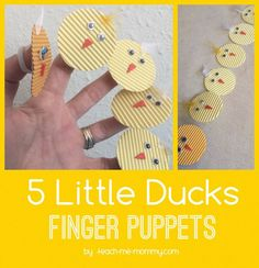 Five Little Ducks Finger Puppets, learning the rhyme!