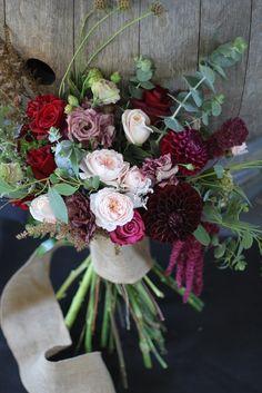 Wine and pink wedding bouquet http://wanakaweddingflowers.co.nz/gallery/bouquets/