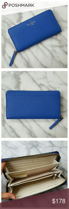 """💕SALE💕Kate Spade Mikas Pond Lacey Wallet Mikas Pond Lacey zip-around continental wallet in Orbit Blue. Cross hatched leather with smooth leather trim, 14k gold plated hardware, jacquard fabric lining. 12 credit card slots, 2 billfold, zipper change pocket and exterior slip pocket. Height 4"""", length 7.6"""", width 0.8"""". New with tags. kate spade Bags Wallets"""