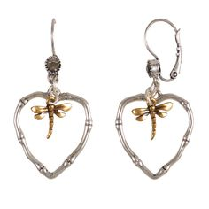 Stunning Hultquist Jewellery Bamboo Dragonfly Swarovski Crystal Heart Earrings £26 http://www.lizzielane.com/product/hultquist-jewellery-bamboo-dragonfly-swarovski-crystal-heart-earrings/