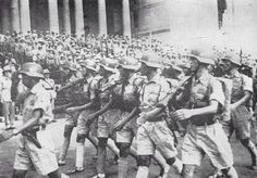 Chinese soldiers in parade, probably in India around 1942.