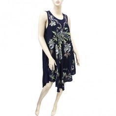 Embroidered Tie Dye Dress 10011 Navy (6 Pcs)