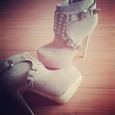 Studded booties High Heel Boots, Heeled Boots, Bootie Boots, Shoe Boots, High Heels, Shoes Heels, Grey Booties, Sexy Heels, Boot Heels
