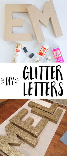 DIY Glitter Letters - A super easy tutorial to create sparkly letters for your home or nursery. It& an affordable way to add a personal touch to a room. Glitter Letters, Diy Letters, Letter A Crafts, Wood Letters, Diy Party Letters, Decorating Wooden Letters, Letters Decoration, Glitter Nursery, Glitter Bedroom