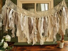 "40"" wide Romantic Vintage Lace Burlap Fabric Garland Rag vintage Wedding shabby Rustic Chic Torn Swag"