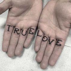 True Love Finger Tattoo by Sam Riera Cole