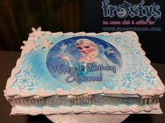 Elsa frozen sheet cake, ice cream cake