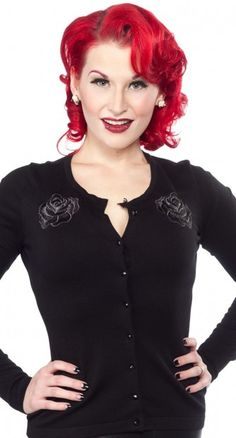 The Black Rose Cardigan is going to quickly become one of your favourite rockabilly wardrobe staples.