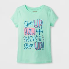 Girls' Short Sleeve Never Give Up Graphic T-Shirt - Cat & Jack Green XL