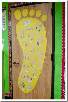 Teach antonyms using The Foot Book, students trace feet write oppposites of their own and place on giant foot anchor chart