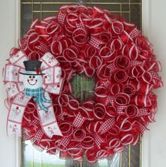Snowman Mesh Wreath, Christmas Wreath, Winter Wreath