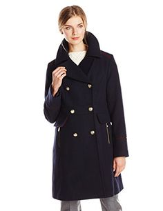 Vince Camuto Womens Double Breasted Military Wool Coat Navy XSmall *** Click image to review more details.