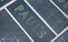 Brand identity and gold foil menus for Stockholm-based restaurant Paul's at Haymarket by 25AH, Sweden