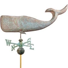 Good Directions Full Size Weathervane Whale in Blue Verde Coastal Homes, Coastal Living, Coastal Style, Dream Beach Houses, Weather Vanes, Contemporary Cottage, Copper And Brass, Nautical Theme, Home
